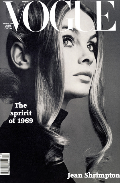 Jean Shrimpton by David Bailey for Vogue, January of 1969.