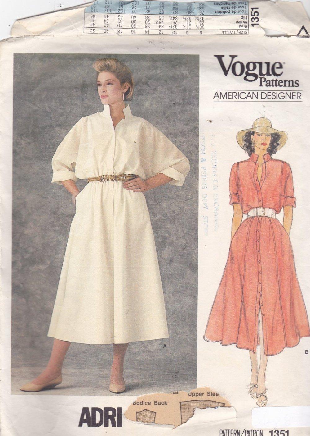Vogue 1351 Pattern 8 Uncut Designer ADRI Shirtwaist Dress Loose Fit Modest