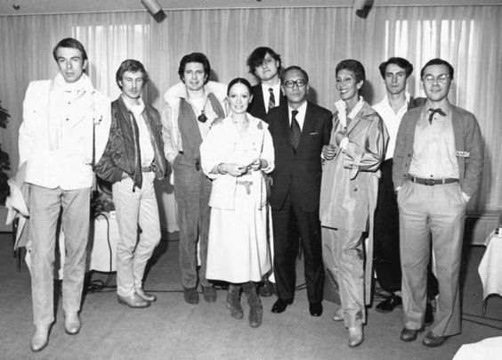 In the picture we can see: Chantal Thomass, Jean-Claude de Luca, Anne-Marie Beretta, Thierry Mugler, Jean-Charles de Castelbajac, France Andrevie, Claude Montana and Issey Miyake