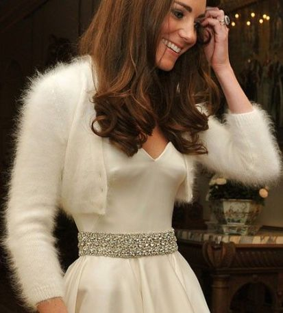 Kate Middleton wearing a bolero made from Angora wool.