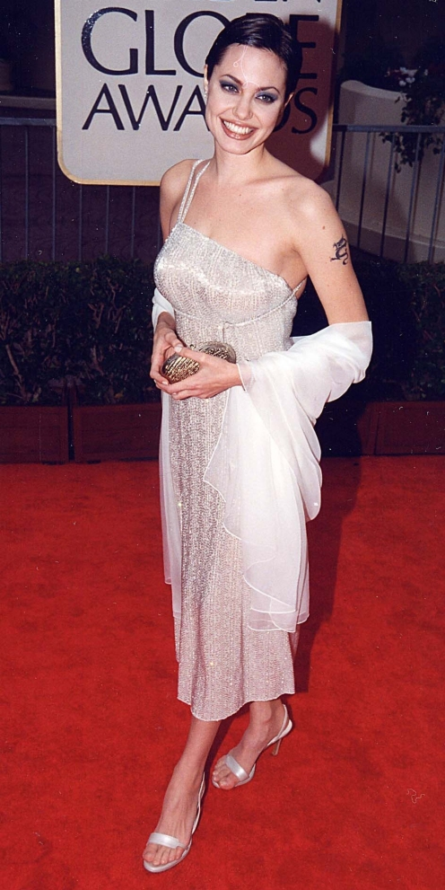 Red Carpet - Angelina Jolie wearing Armani at the 1998 Golden Globe Awards in Los Angeles.