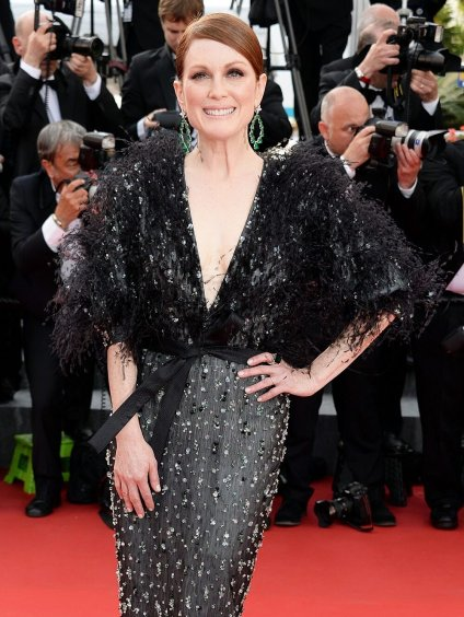 Red Carpet - Julianne Moore wearing Armani Privé at the 68th Cannes Film Festival in 2015.