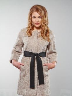 An Astrakhan coat.