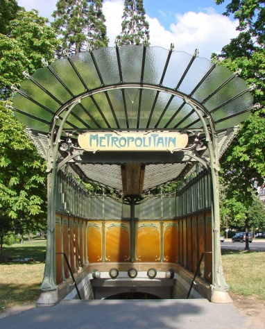 Porte Dauphine subway station by Hector Guimard, Paris.