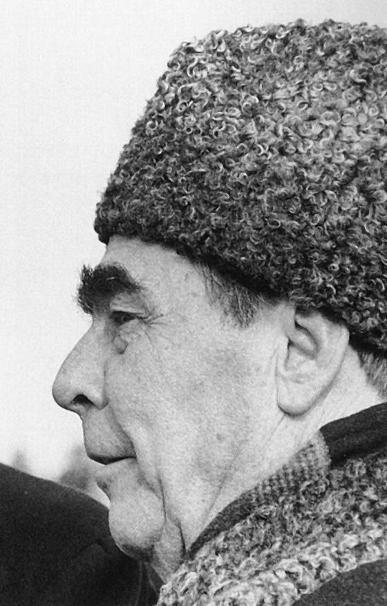 The Soviet politician Leonid Ilyich Brezhnev wearing a Karakul hat.