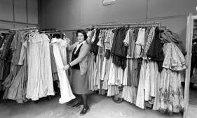 Laura Ashley with some of her dresses.