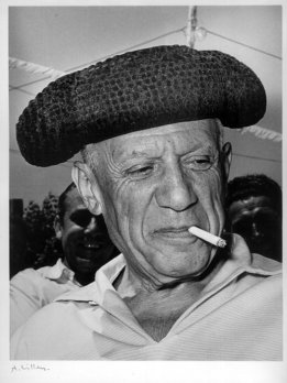 The Spanish painter Pablo Picasso wearing a Montera.