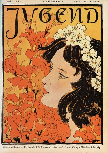Jugend nº 14's cover, a German magazine, by Otto Eckmann, 1896.