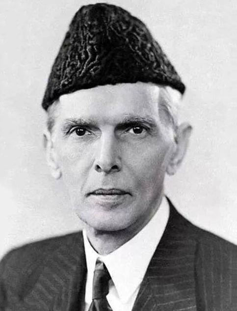 The Pakistanian politician Muhammad Ali Jinnah wearing a Jinnah.