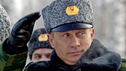 The Russian politician Vladimir Putin wearing a Karakul hat.